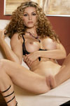 Heather Vandeven goes buck wild grinding her pussy against some white leather as she rides her wavy recliner.