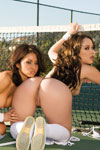 Lana Lopez gives Kristina Rose some erotic tips on her tennis backswing by going down on Rose's sexy backside and bottom on the court.