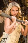 Sophia Lynn is working up a big sweat and some serious muscles toiling around naked at her local blacksmith's shop. Sparks are definitely flying as this hot blonde walks around in nothing but Timberlands slinging a sledge hammer. She's so hot!