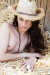 Georgia Jones fulfills a variety of sexy western fantasy dreamgirl roles: the naughty farmer's daughter rolling around in the hay, and the sweaty cowgirl taking an outdoor soak in an iron bathtub!